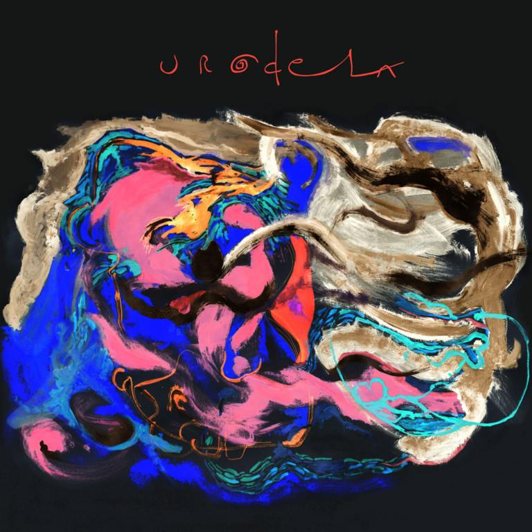 blå pink abstraktion på sort -pladecover